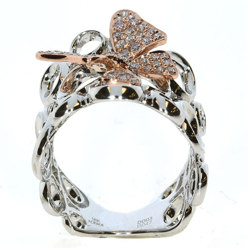 030ct Natural Fancy Pink Diamonds Engagement Ring 18K Solid Gold 4G Butterfly 263738747956 3 - 0.30ct Natural Fancy Pink Diamonds Engagement Ring 18K Solid Gold 4G Butterfly