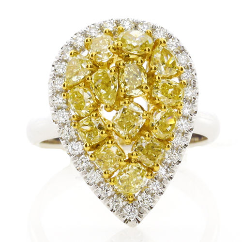 2.01ct Natural Fancy Intense Yellow Diamonds Engagement Ring 18K Yellow Gold