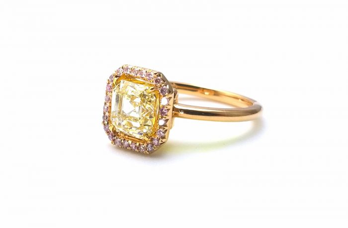 225ct Natural Fancy Pink Light Yellow Engagement Ring GIA Accsher 18K Gold VS 263781428826 2 700x459 - 2.25ct Natural Fancy Pink & Light Yellow Engagement Ring GIA Accsher 18K Gold VS