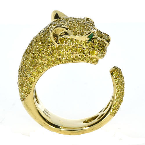 260ct Natural Fancy Yellow Diamonds Engagement Ring 18K Solid Gold 9G Tiger 263781428886 3 - 2.60ct Natural Fancy Yellow Diamonds Engagement Ring 18K Solid Gold 9G Tiger