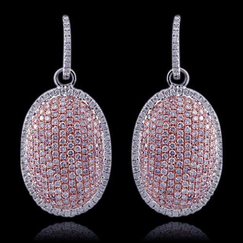 270ct Fancy Intense Pink Diamonds Earrings 18K All Natural 107 Grams W Gold 263781428836 - 2.70ct Fancy Intense Pink Diamonds Earrings 18K All Natural 10.7 Grams W Gold