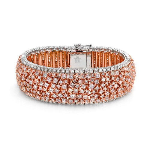 Pink Diamonds Bracelet 2123ct Natural Fancy Pink Color 18K 53 Grams Princess 253846359746 - Pink Diamonds - Bracelet 21.23ct Natural Fancy Pink Color 18K 53 Grams Princess