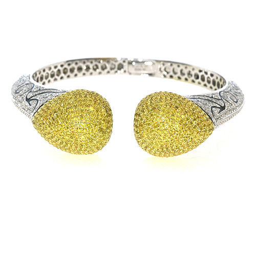 Real 14.5ct Natural Fancy Yellow Diamonds Bracelet Bangle 18K Solid Gold 44G