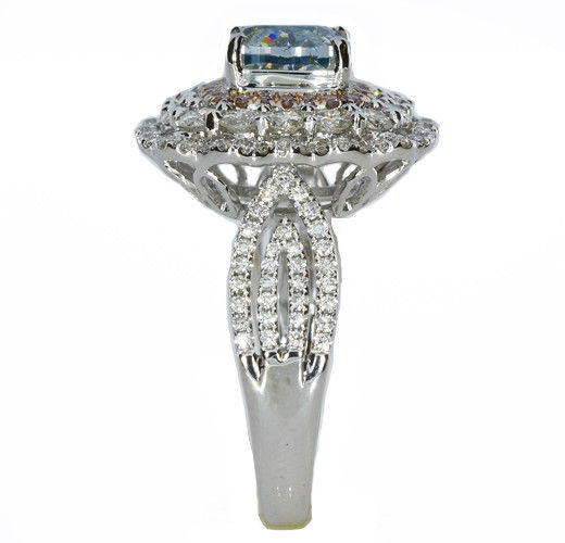 Real 334ct Natural Fancy Light Blue Pink Diamonds Engagement Ring GIA 18K 253693729966 3 - Real 3.34ct Natural Fancy Light Blue & Pink Diamonds Engagement Ring GIA 18K