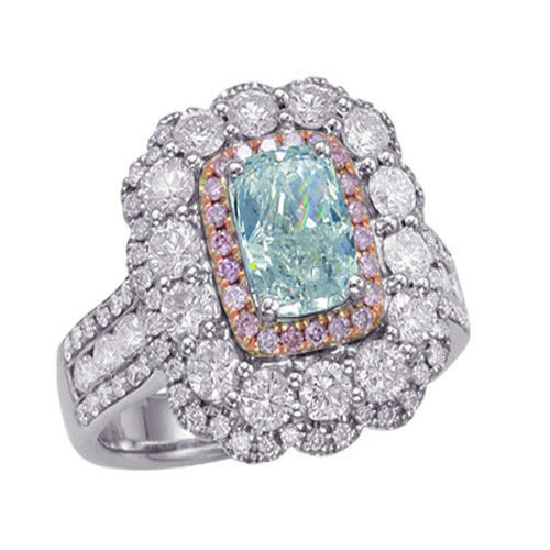 Real 334ct Natural Fancy Light Blue Pink Diamonds Engagement Ring GIA 18K 253693729966 - Real 3.34ct Natural Fancy Light Blue & Pink Diamonds Engagement Ring GIA 18K