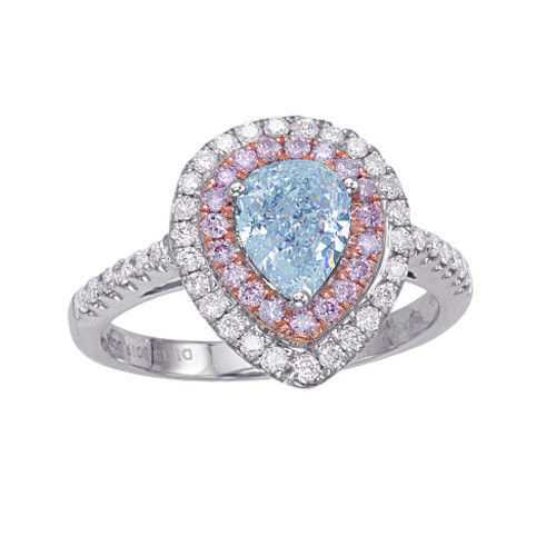 Real GIA 168ct Natural Fancy Light Blue Pink Diamonds Engagement Ring 18K 253687158656 - Real GIA 1.68ct Natural Fancy Light Blue & Pink Diamonds Engagement Ring 18K