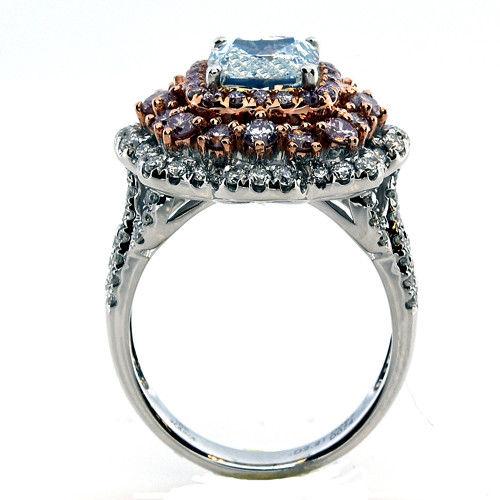 VVS2 GIA 4.02ct Natural Faint Light Blue & Pink Diamonds Engagement Ring 18K