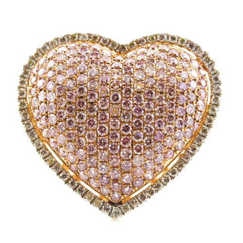 Real 261ct Natural Fancy Pink Diamonds Engagement Ring 18K Solid Gold 9G Heart 253676205227 - Real 2.61ct Natural Fancy Pink Diamonds Engagement Ring 18K Solid Gold 9G Heart