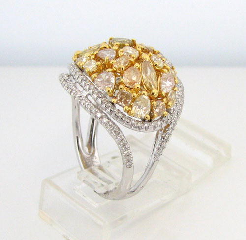 Real 3.88ct Natural Fancy Intense Yellow Diamonds Engagement Ring 18K Solid Gold