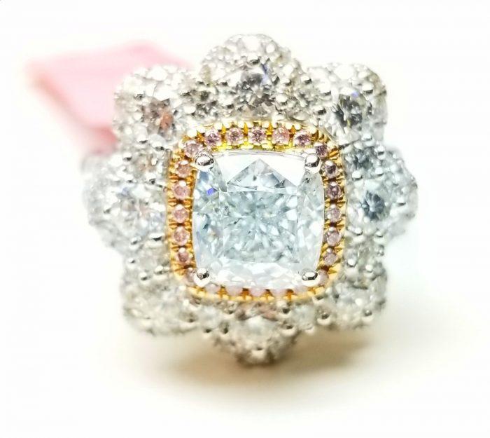 Real 405ct Natural Faint Light Blue Pink Diamonds Engagement Ring GIA 18K 253693729987 3 700x625 - Real 4.05ct Natural Faint Light Blue & Pink Diamonds Engagement Ring GIA 18K