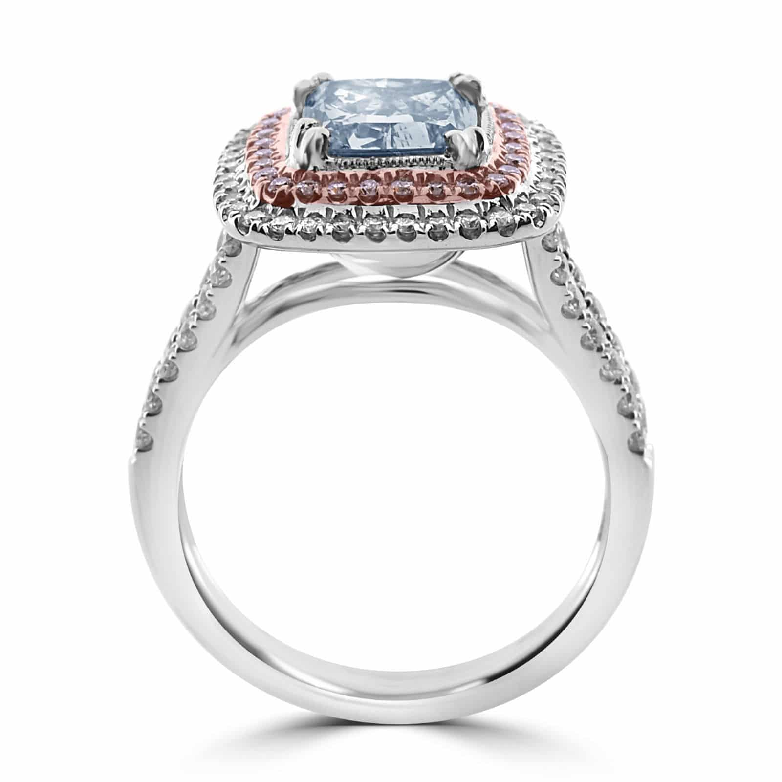 GIA 2.75ct Natural Fancy Light Blue Pink Diamonds Engagement Ring 18K