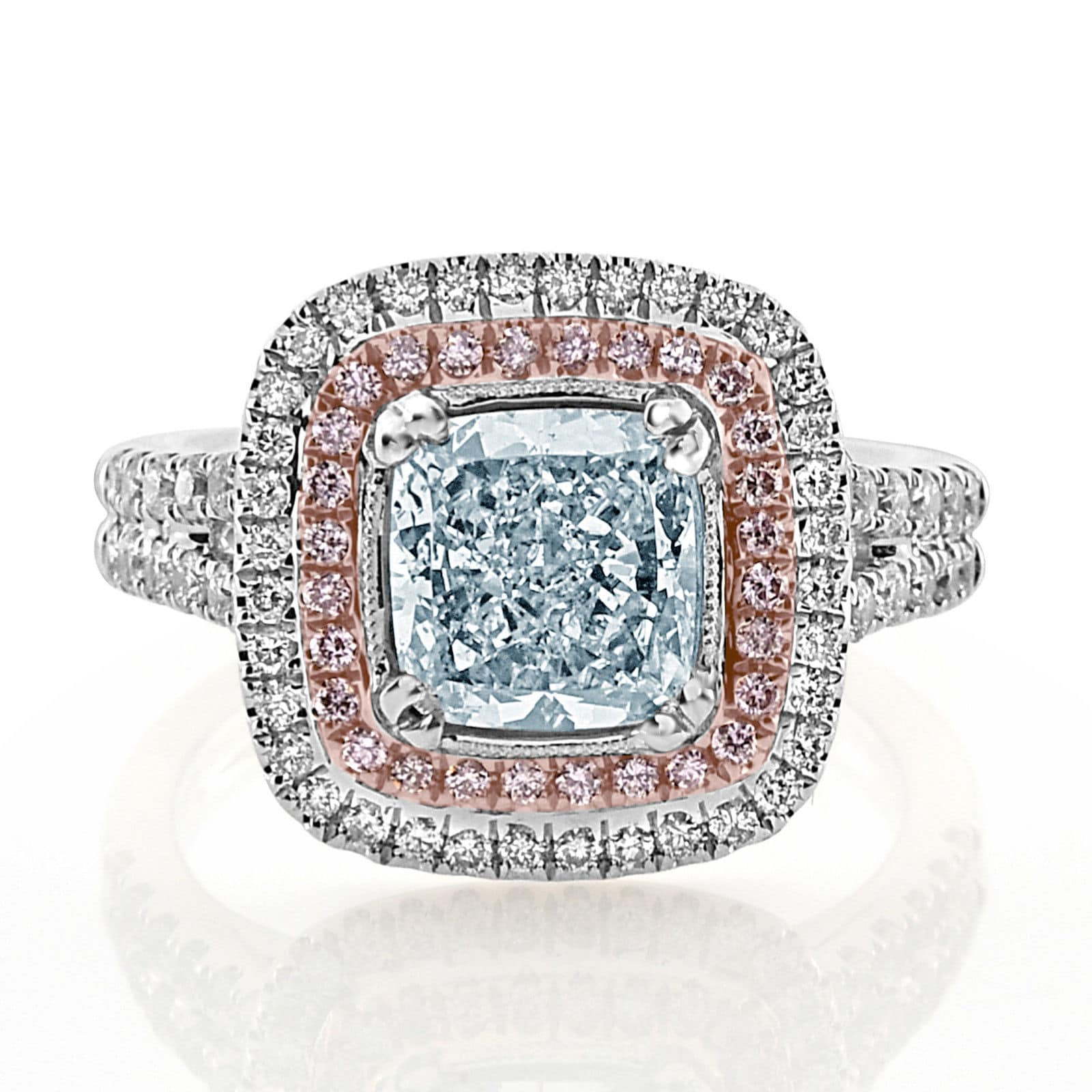 Real GIA 275ct Natural Fancy Light Blue Pink Diamonds Engagement Ring 18K 263917379417 - Home