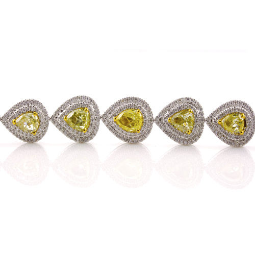 Yellow Diamonds Bracelet 1104ct Natural Fancy Yellow 18K 30 Grams Pear Shape 263781428867 2 - Yellow Diamonds - Bracelet 11.04ct Natural Fancy Yellow 18K 30 Grams Pear Shape