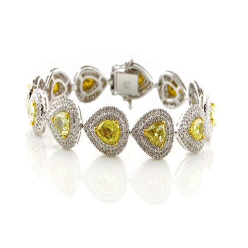 Yellow Diamonds Bracelet 1104ct Natural Fancy Yellow 18K 30 Grams Pear Shape 263781428867 - Yellow Diamonds - Bracelet 11.04ct Natural Fancy Yellow 18K 30 Grams Pear Shape