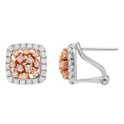 091ct Fancy Intense Pink Diamonds Earrings 18K All Natural 4 Grams White Gold 263781430178 - 0.91ct Fancy Intense Pink Diamonds Earrings 18K All Natural 4 Grams White Gold