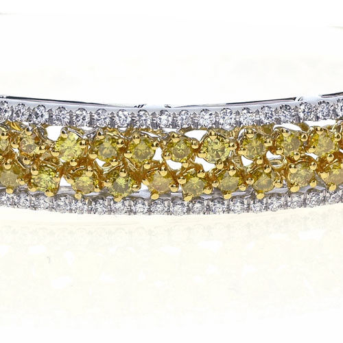 320ct Natural Fancy Yellow Color Diamonds Bangle Bracele 18K Solid Gold 24G 263738747938 2 - 3.20ct Natural Fancy Yellow Color Diamonds Bangle Bracele 18K Solid Gold 24G