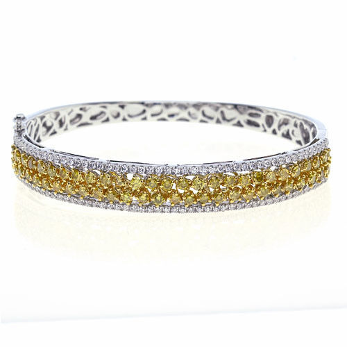 320ct Natural Fancy Yellow Color Diamonds Bangle Bracele 18K Solid Gold 24G 263738747938 - 3.20ct Natural Fancy Yellow Color Diamonds Bangle Bracele 18K Solid Gold 24G