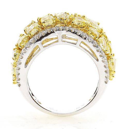 4.54ct Natural Fancy Intense Yellow Diamonds Engagement Ring 18K Solid Gold 9G