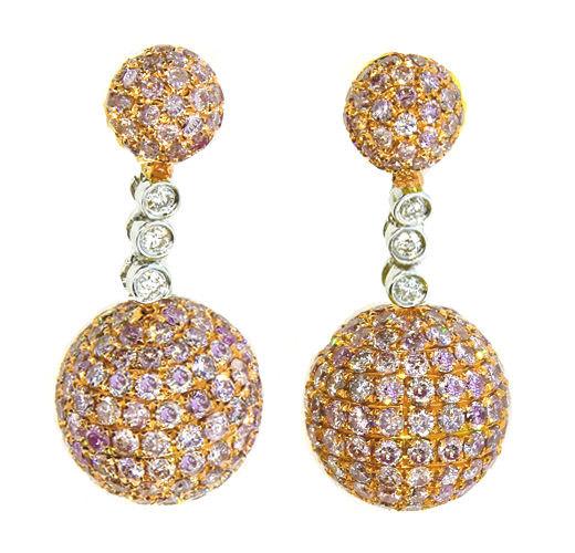 713ct Fancy Pink Diamonds Earrings 18K All Natural 9 Grams Real Gold Ball 253713569098 2 - 7.13ct Fancy Pink Diamonds Earrings 18K All Natural 9 Grams Real Gold Ball
