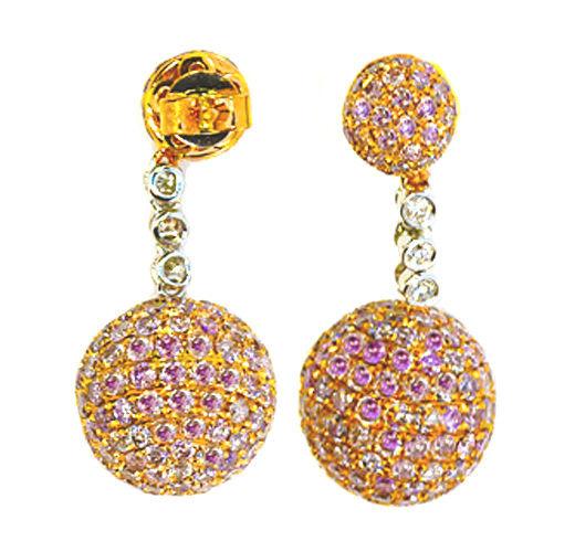 713ct Fancy Pink Diamonds Earrings 18K All Natural 9 Grams Real Gold Ball 253713569098 - 7.13ct Fancy Pink Diamonds Earrings 18K All Natural 9 Grams Real Gold Ball