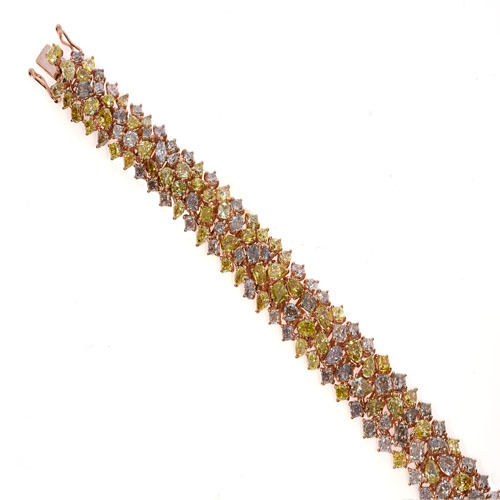 Pink Diamonds Bracelet 245ct Natural Fancy Pink Yellow Mix Color 18K 49 Grams 263781428858 2 - Pink Diamonds - Bracelet 24.5ct Natural Fancy Pink Yellow Mix Color 18K 49 Grams