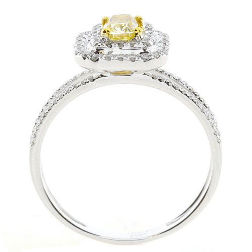 Real 075ct Natural Fancy Yellow Diamonds Engagement Ring 18K Solid Gold Cushion 253693729968 3 - Real 0.75ct Natural Fancy Yellow Diamonds Engagement Ring 18K Solid Gold Cushion