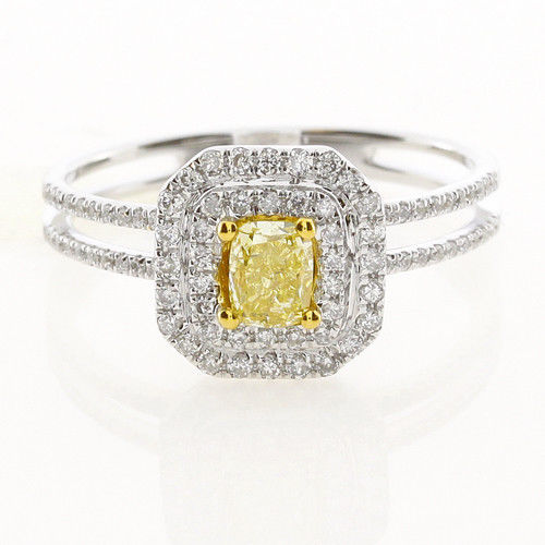 Real 075ct Natural Fancy Yellow Diamonds Engagement Ring 18K Solid Gold Cushion 253693729968 - Real 0.75ct Natural Fancy Yellow Diamonds Engagement Ring 18K Solid Gold Cushion