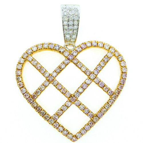 Real 0.89ct Natural Fancy Pink Diamonds Heart Pendant Necklace 18K Rose Gold 4G