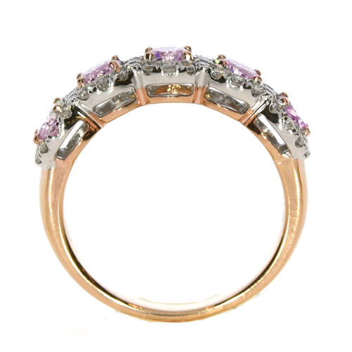 Real 165ct Natural Fancy Pink Diamonds Engagement Ring 18K Solid Gold 5G Rounds 263744165858 3 - Real 1.65ct Natural Fancy Pink Diamonds Engagement Ring 18K Solid Gold 5G Rounds