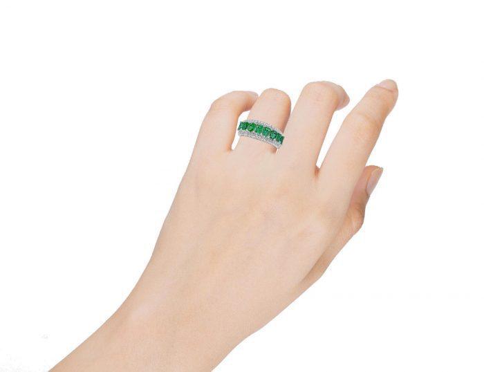 Real 213ct Natural Green Emerald Diamonds Engagement Ring 18K Solid Gold 263909790888 3 700x538 - Real 2.13ct Natural Green Emerald & Diamonds Engagement Ring 18K Solid Gold