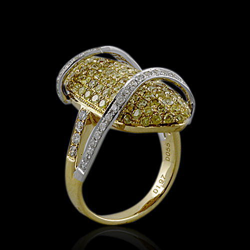 Real 2.46ct Natural Fancy Intense Yellow Diamonds Engagement Ring 18K Solid Gold