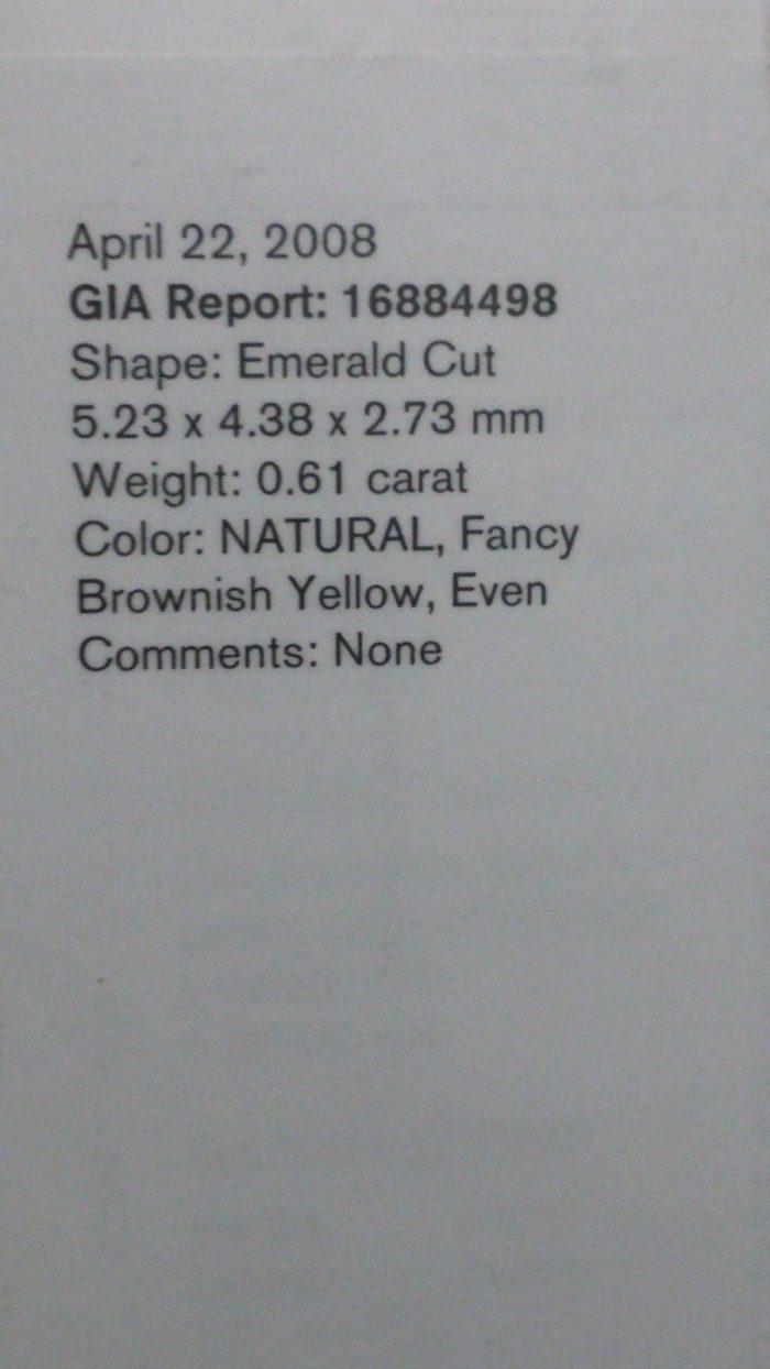 Yellow Diamond 061Ct Natural Loose Fancy Brownish Yellow GIA Emerald Cut VS1 263738746708 2 700x1244 - Yellow Diamond - 0.61Ct Natural Loose Fancy Brownish Yellow GIA Emerald Cut VS1