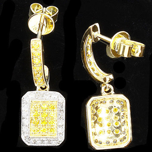 0.58ct Fancy Intense Yellow Diamonds Earrings 18K All Natural 4 Grams Y Gold