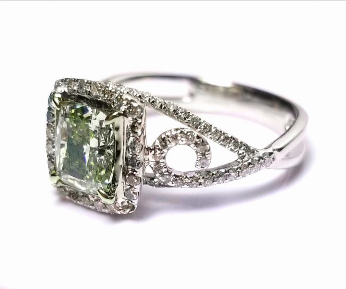 173ct Natural Fancy Green Diamond Engagement Ring GIA 18K White Gold Cushion 264051652389 2 700x584 - 1.73ct Natural Fancy Green Diamond Engagement Ring GIA 18K White Gold Cushion
