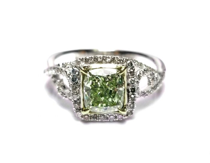 173ct Natural Fancy Green Diamond Engagement Ring GIA 18K White Gold Cushion 264051652389 4 700x544 - 1.73ct Natural Fancy Green Diamond Engagement Ring GIA 18K White Gold Cushion