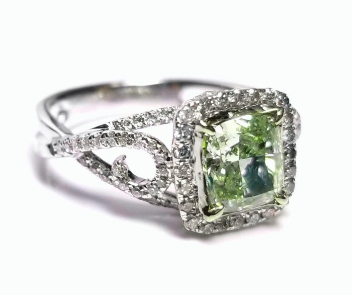 173ct Natural Fancy Green Diamond Engagement Ring GIA 18K White Gold Cushion 264051652389 5 700x586 - 1.73ct Natural Fancy Green Diamond Engagement Ring GIA 18K White Gold Cushion