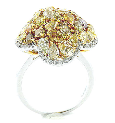 3.74ct Natural Fancy Intense Yellow Diamonds Engagement Ring 18K Solid Gold 9G