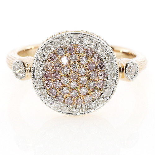 Real 0.74ct Natural Fancy Pink Diamonds Engagement Ring 18K Solid Gold 6G Band