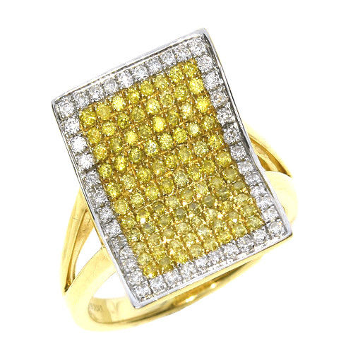 Real 109ct Natural Fancy Yellow Diamonds Engagement Ring 18K Solid Gold 6G 253670742409 - Real 1.09ct Natural Fancy Yellow Diamonds Engagement Ring 18K Solid Gold 6G
