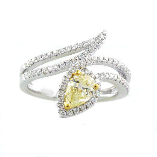 Real 1.15ct Natural Fancy Yellow Diamonds Engagement Ring 18K Solid Gold Pear
