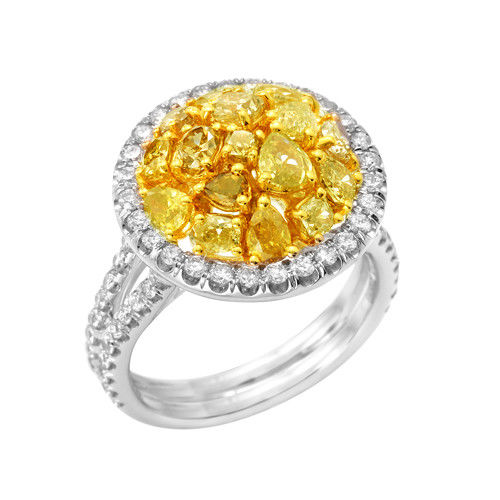 Real 2.47ct Natural Fancy Intense Yellow Diamonds Engagement Ring 18K Solid Gold